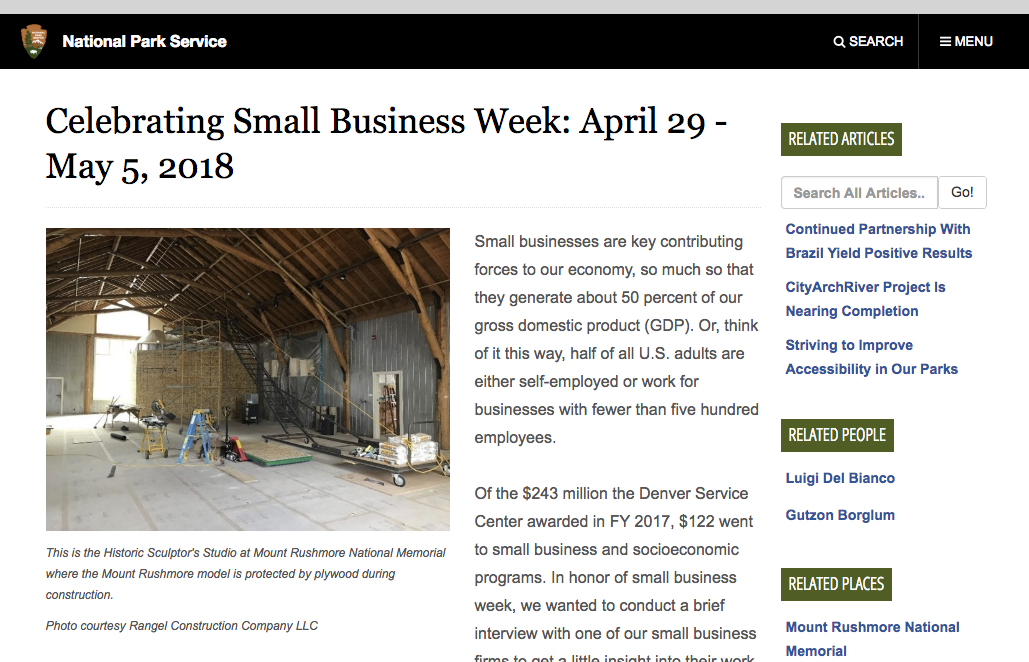 Rangel Construction Featured on NPS Celebrating Small Business Week